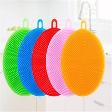 Daily cleaning and heat insulation decontamination silicone cup brush  multi-function vegetable round dishwashing