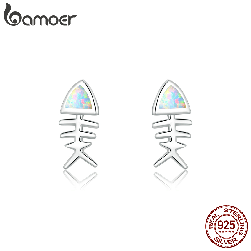Bamoer Opal Jewelry Genuine 925 Sterling Silver Fish Bone Stud Earrings For Girl Kids Silver 925 Jewelry Gifts SCE857