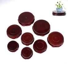 1PCS 6-12cm Buddha Incense Flowerpot Wood Carving Teapot Base Diameter Real Solid Wood Carving Vase Base Stone