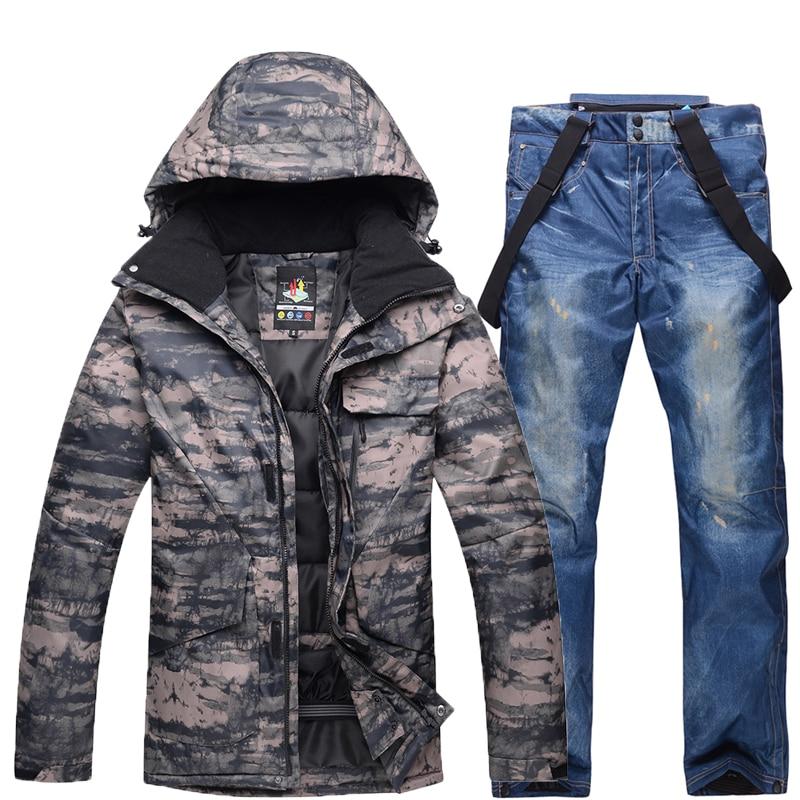 New Winter Men Camouflage Ski Suit Warm Windproof Waterproof Skiing Suits Male Outdoor Sport Snowboarding Set Ski Jacket + Pants