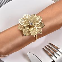 12Pcs/Set Alloy Cutout Flower Design Napkin Rings for Wedding Receptions Gifts Holiday Banquet Dinner Christmas Table Decoration