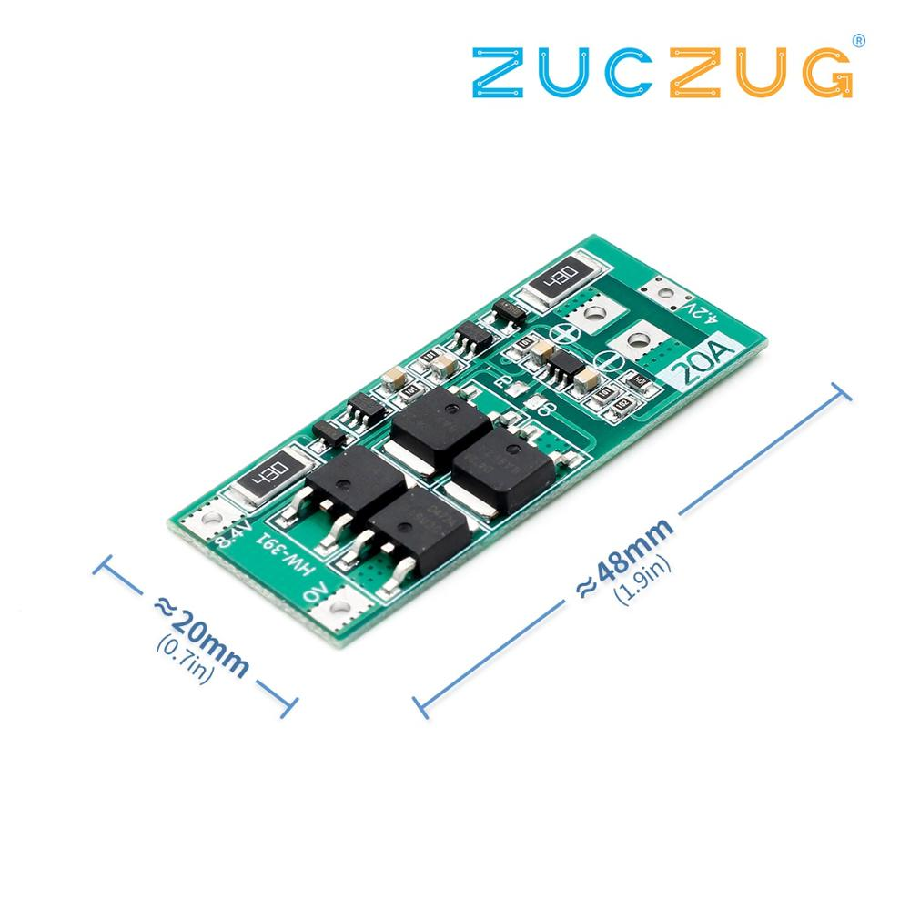 2S 7.4V 8.4V 18650 Lithium Battery Protection Board With Balanced 20A Current Balanced Board