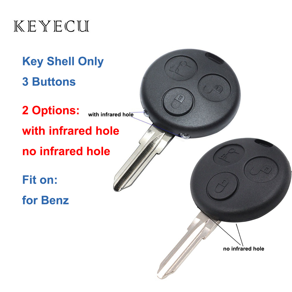 Keyecu Replacement Remote Control <font><b>Key</b></font> Shell Case With 3 Buttons - FOB for Mercedes-Benz <font><b>Smart</b></font> Fortwo <font><b>450</b></font> Forfour 451 Roadstar image