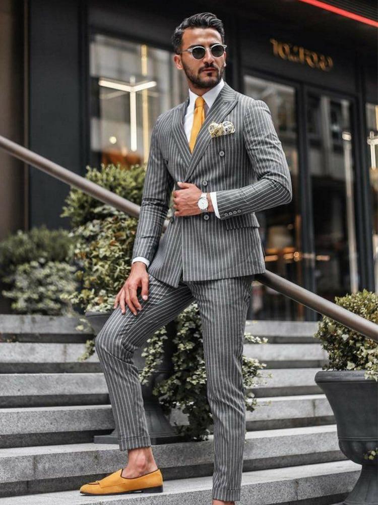 ANNIEBRITNEY Double Breasted Slim Fit Grey Stripe Men Suit Formal 2 Piece Business Tailor Made Men Suit Groom Wedding Tuxedo