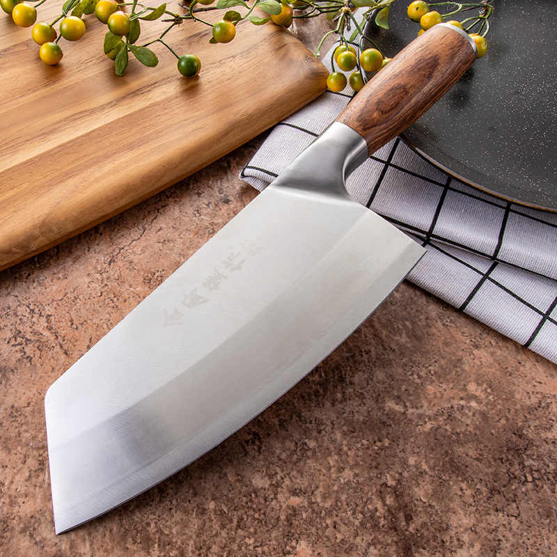 SHUOJI 4Cr13 Chef Knife 7 inch Chinese Kitchen Knives Meat Fish Vegetable Sliing Knife Super Sharp Blade Rosewood Hadle Clever
