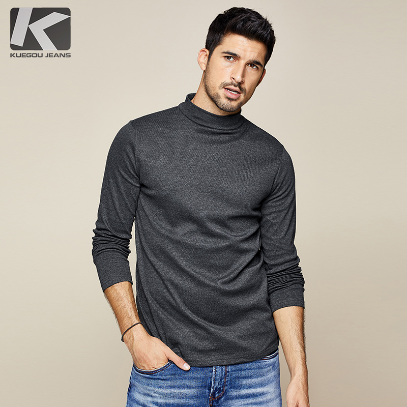 KUEGOU 2019 Autumn Cotton Plain White T Shirt Men Tshirt Brand T-shirt Long Sleeve Tee Shirt Fashion Clothes Plus Size Top 803