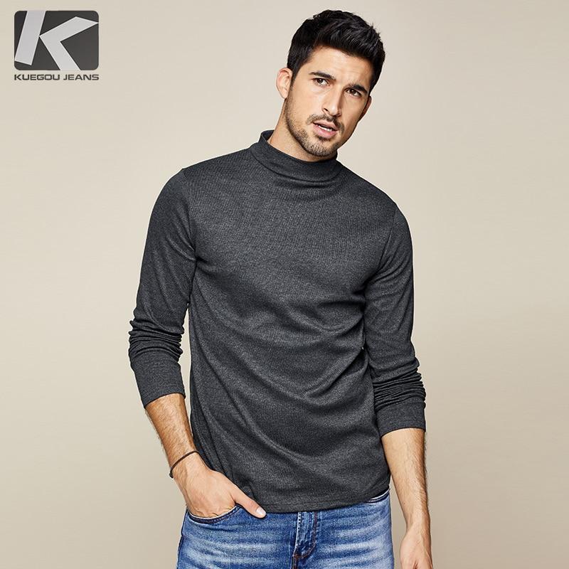 KUEGOU 2019 Autumn Cotton Plain White T Shirt Men Tshirt Brand T-shirt Long Sleeve Tee Shirt Fashion Clothes Plus Size Top 803