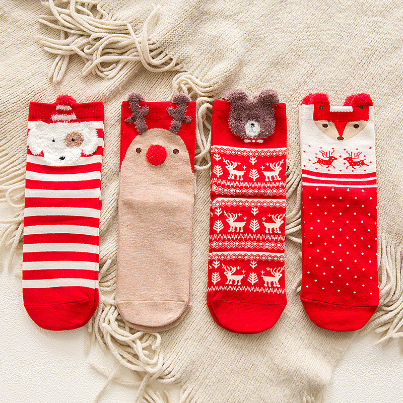 Hot Sale 1 Pair Women Cotton Socks Cartoon Red Dog Elk Bear Fox Christmas Socks For Spring Autumn Winter Christmas Gift Cute Sox