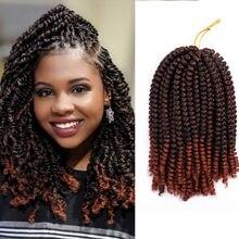 8 polegadas macios ombre primavera torção do cabelo de crochê tranças extensões sintéticas 30 raízes preto marrom cor crochê trança cabelo