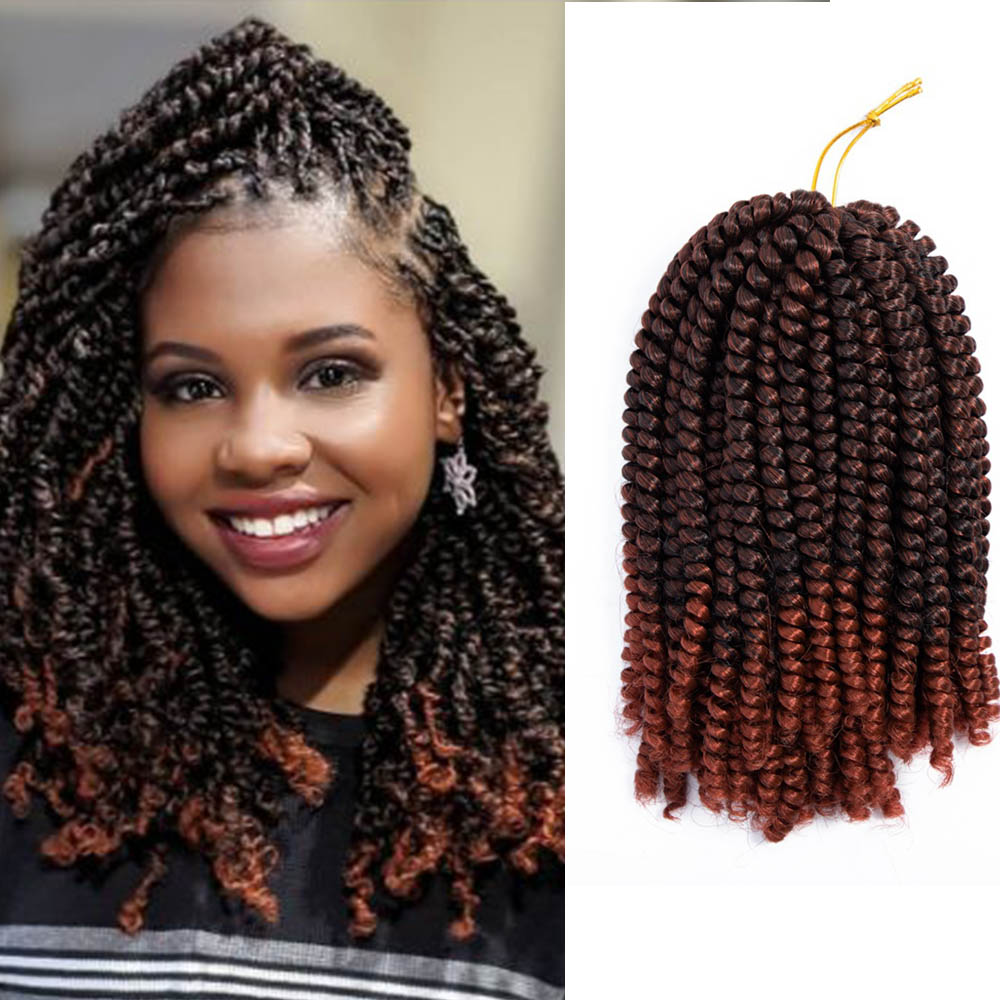 Saisity 8inch Ombre Spring Twist Hair Crochet Braids Synthetic Extensions 30Roots Black Brown Color Crochet Braiding Hair
