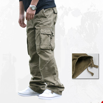 Spring Autumn Outdoor Army Military Tactical Cargo Pants Male Climbing Sports Camping Pockets Loose Baggy Overalls Long Trousers
