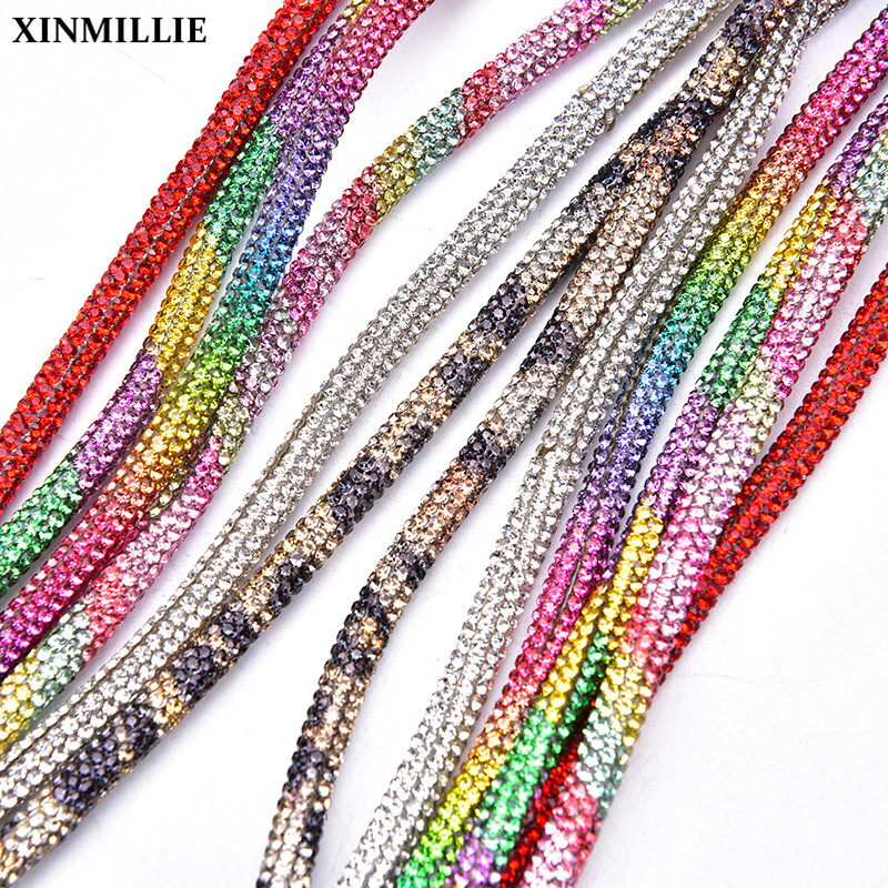New 6mm Glass Crystal Cord Rhinestone Rope Applique Colorful Tube Trim Strass Bridal Dress Clothes Hairpin Shoes Bags DIY