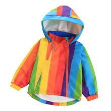 Children's Jacket Outwear Rainbow-Coat Water-Proof Coats Clothing Hooded Spring-Fall