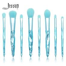 Jessup brochas de maquillaje, 8 Uds., color azul glaciar, sombra de ojos, base, pincel, mango de plástico