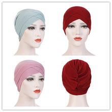 Богемные эластичные женские шапки шарф хлопковый с перекрестными