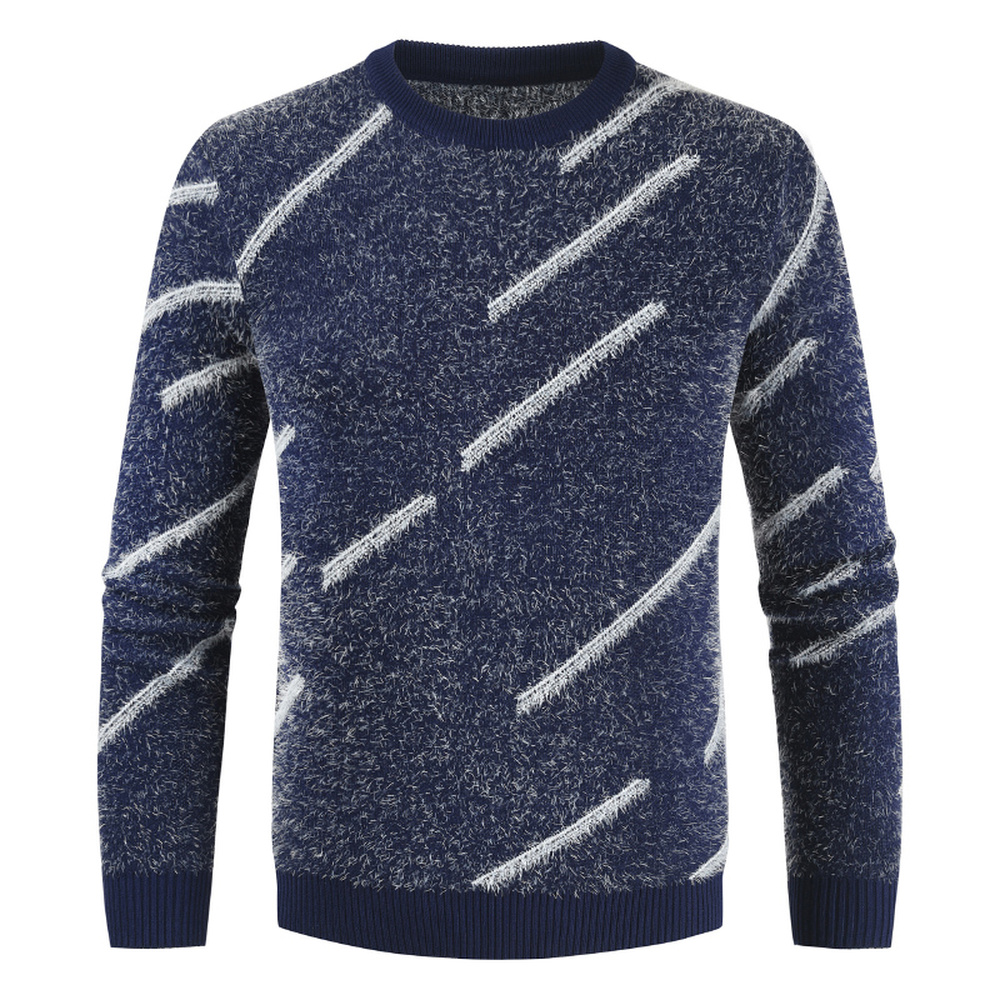 Knitted Sweater Men's New Pullover Jumpers O Neck Fleece Male Pullovers Sweaters Tops Long Sleeve Warm Knit Clothes  Pull Homme