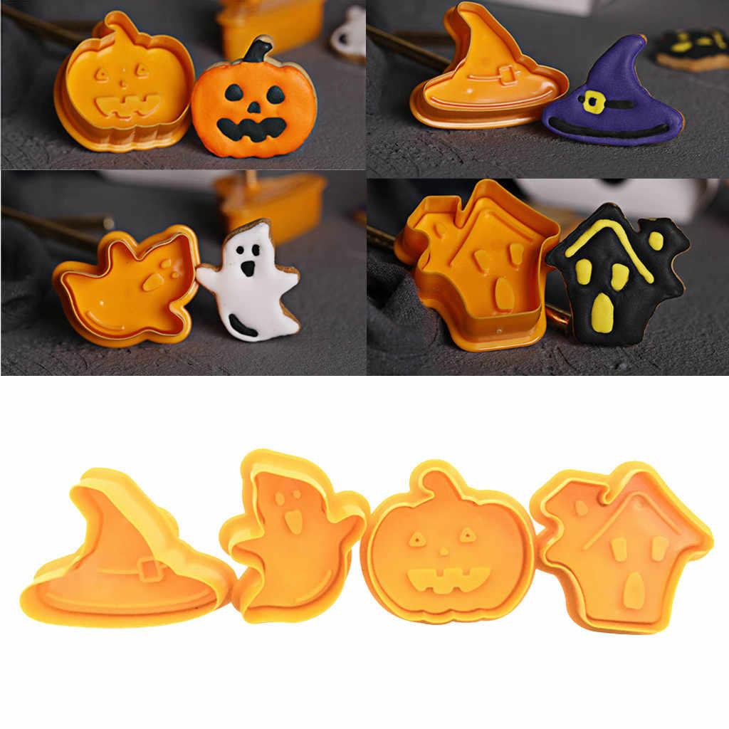 4 Uds. Tema de Halloween molde para hornear émbolo cortador de galletas plástico cortador de galleta bizcocho sello molde Fondant herramienta pastelería herramientas
