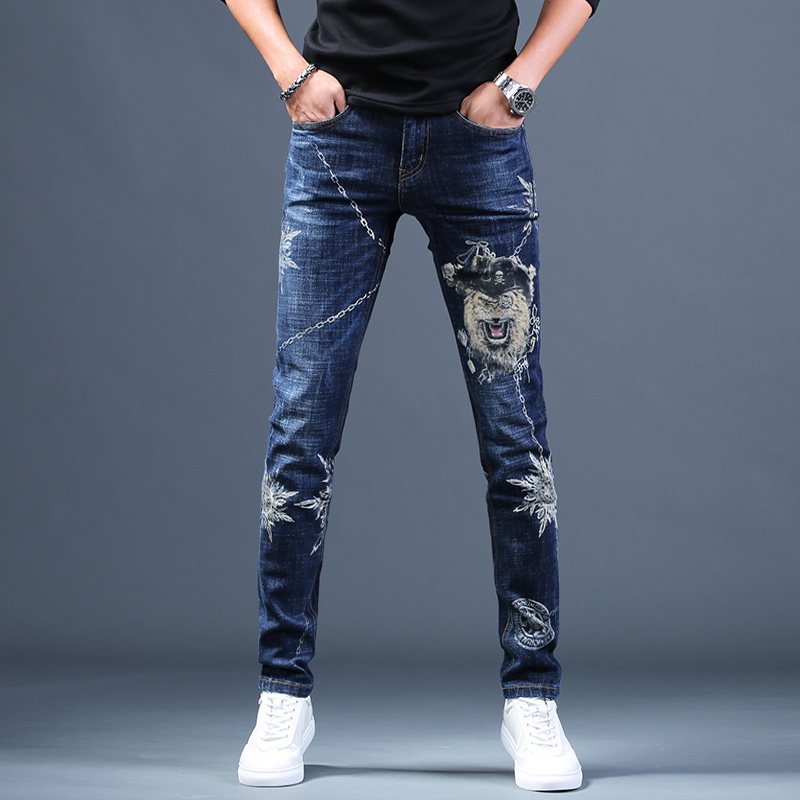Free Shipping New Male Fashion Men's Jeans Printed Hole Jeans Casual Pants 2019 Autumn Korean Trend Trousers