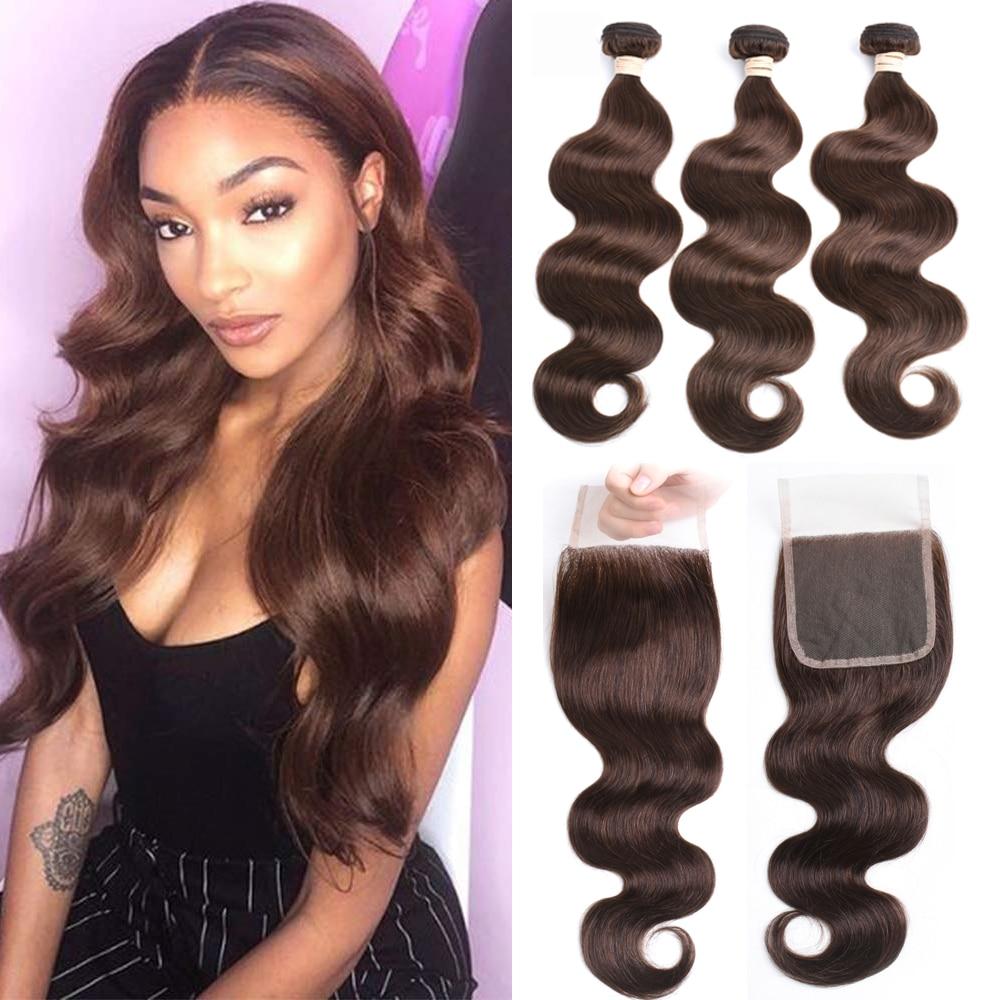 Beaudiva Hair 100% Human Hair Bundles With Closure #2 #4 Color Brazilian Body Wave Hair Weave 3 Pcs Bundles With Lace Closure