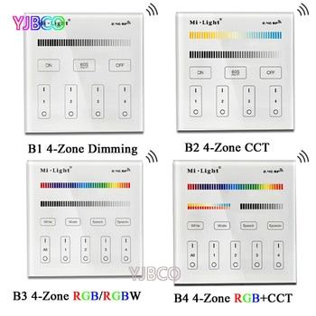 mi light b1 4 zone brightness dimmer smart touch panel remote controller powerd by 3v 2 aaa battery wall mount 2 4g wireless 2.4G MiBOXER B1/B2/B3/B4 4-Zone Smart Touch Panel led Dimmer Controller for RGB/RGBW/CCT Brightness led strip light