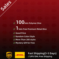100 Sets Polymer Dice Random Color Dice Set for Tabletop Games DnD RPG Include Free Metal Dice Mystery Gift DHL/UPS Free