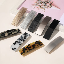 1Pcs Leopard Marble Acetate Colorful Barrette Hair Clips Women Bling Glitter Hairpins Square Geometric Flowers Hair Accessories