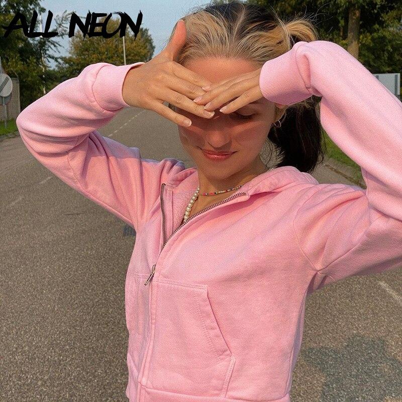 ALLNeon Y2K Mode Zipper Gestellte Tops Vintage E-mädchen Rosa Langarm Rosa Hoodies 2000s Ästhetik Indie Sweatshirts dünne