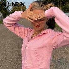 ALLNeon Y2K mode fermeture éclair hauts courts Vintage e-girl rose à manches longues rose sweats à capuche 2000s esthétique Indie sweat-shirts mince
