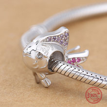 StrollGirl 925 sterling silver animal fish with CZ beads for authentic Pandora charm bracelet and necklace woman fashion jewelry(China)