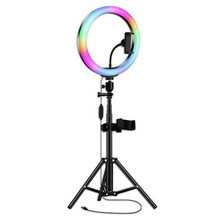 Portable Rgb Ring Light With Tripod 10 Inch Fill Light Led Live Light Mobile Phone Universal Selfie Stick(China)