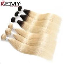 613 בלונד שיער טבעי חבילות Kemy שיער 8 כדי 26 אינץ ברזילאי ישר שיער טבעי Weave חבילות ללא רמי שיער הרחבות 1PC