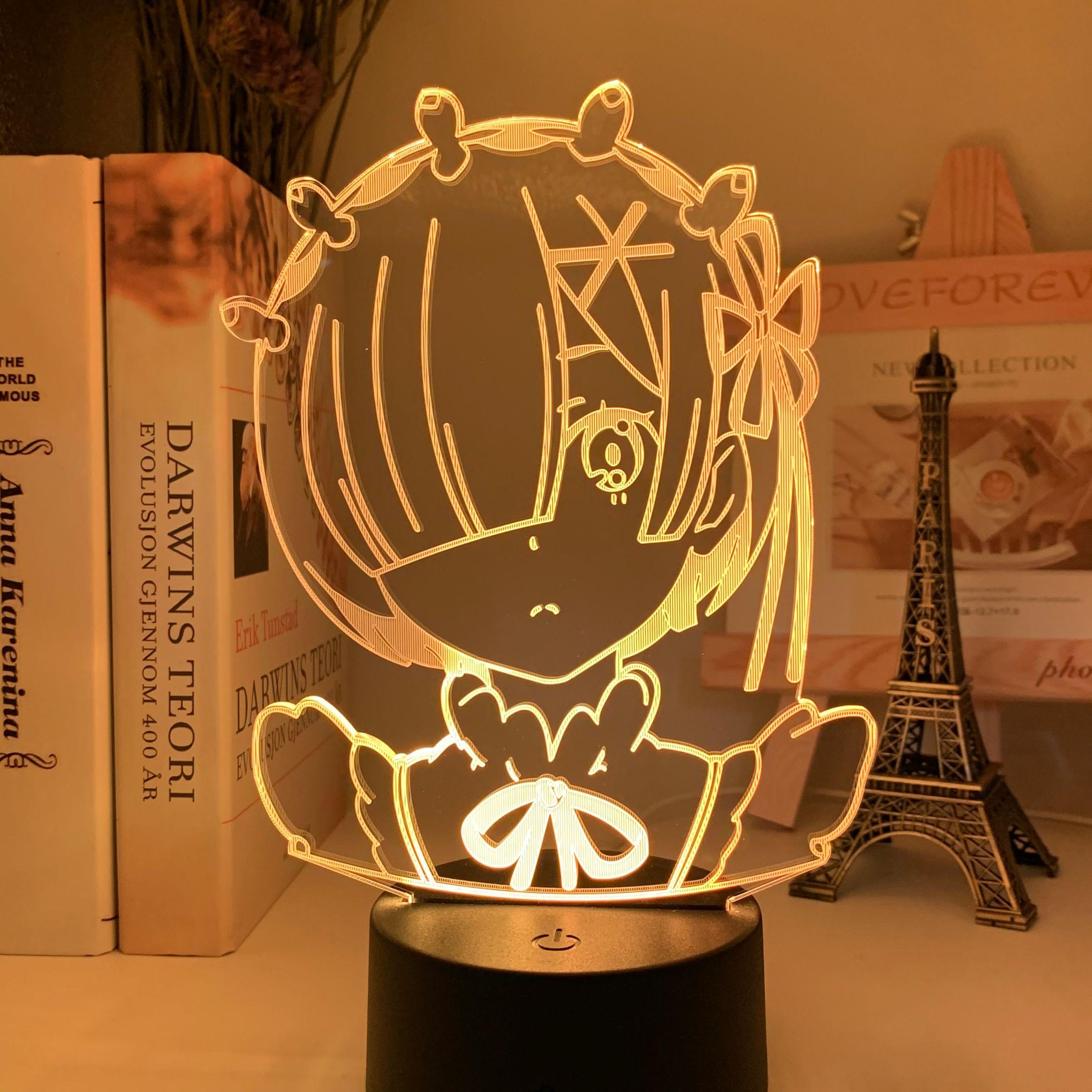 H12f383069862472f996c3dc790fed9ebD Luminária Anime rem re zero starting life in another world figura luz da noite led sensor de toque mudança cor do bebê nightlight para decoração do quarto lâmpada mesa 3d manga presente