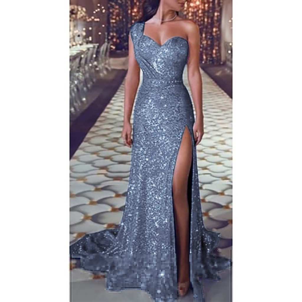Sequin dress Women Sexy one shoulder Party dress Ladies Elegant robe Ball Gown Gold Bridesmaid V