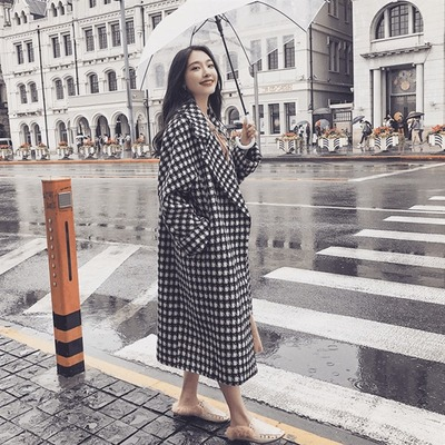 Large Size Dress Thousands Of Birds Plaid Overcoat 2019 New Style Fat Mm Mid-length Black And White Winter Woolen Cloth Nizi Woo
