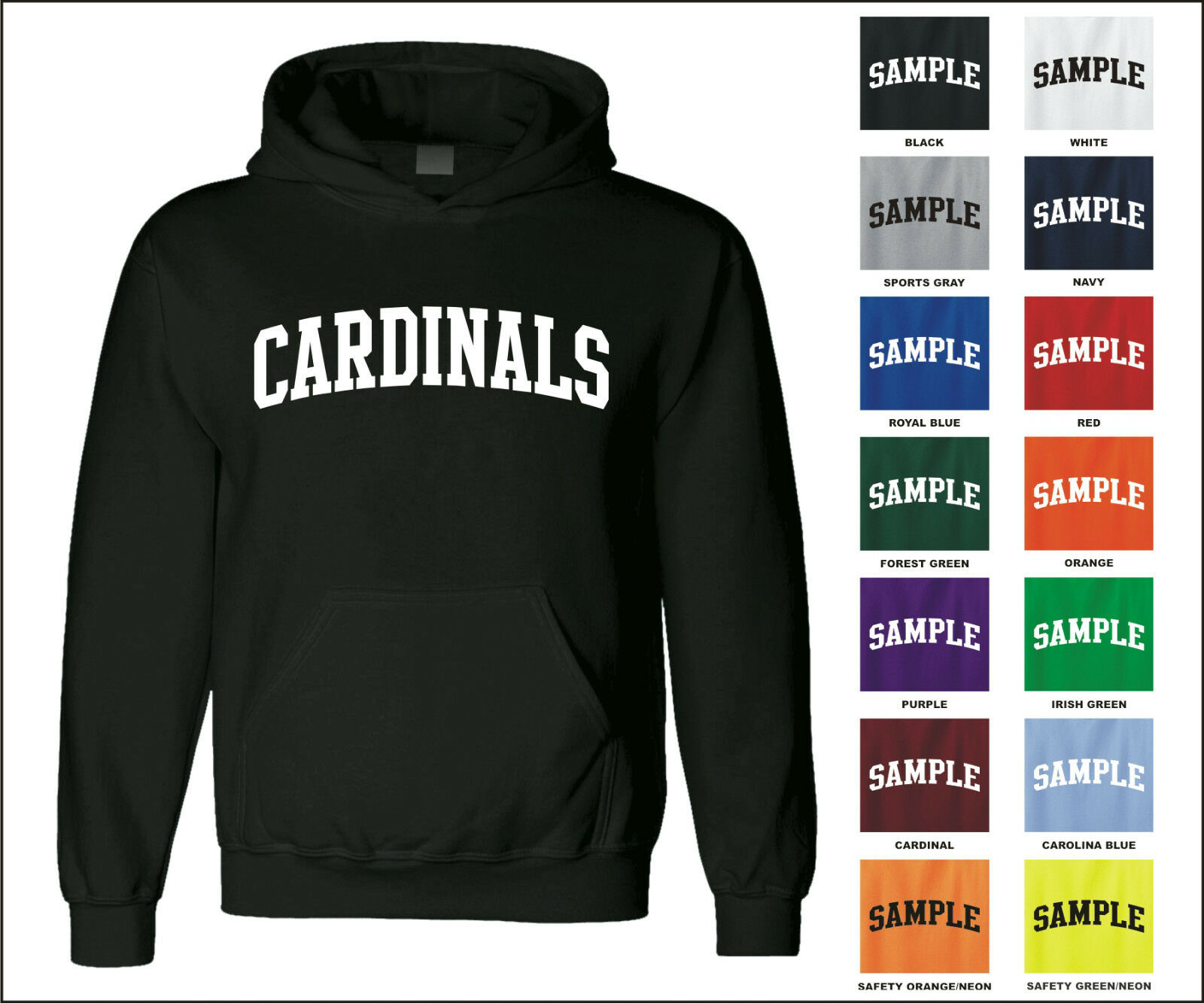 Cardinals College Letter Team Name Jersey Hooded Sweatshirt Women Men Clothes Coat Hoodie