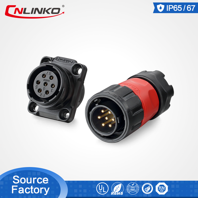 UL Approved Power Connector Manufacturer Electric <font><b>7pin</b></font> Sealed ip67 waterproof dc power connector DC/AC <font><b>DIN</b></font> image