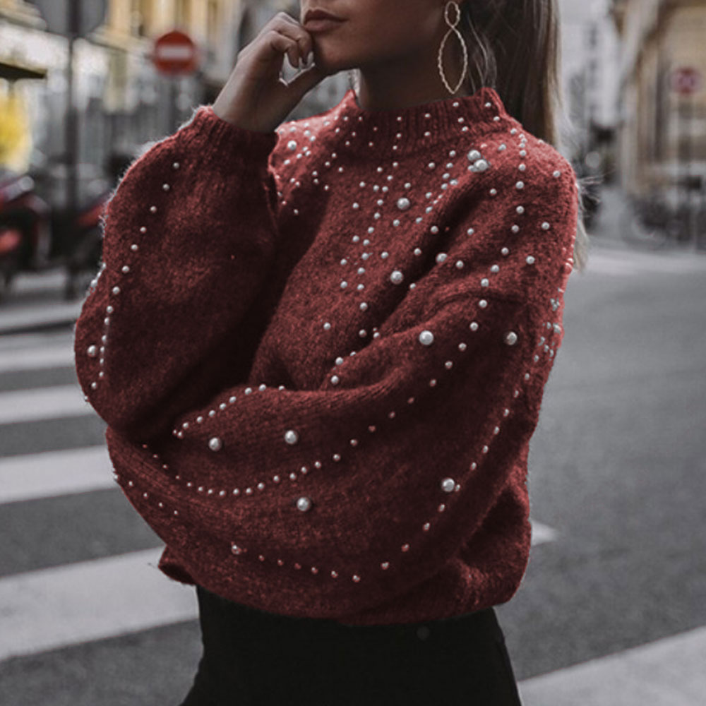 CALOFE 2019 New Fashion Pullovers And Sweaters Pearl Printed Lantern Sleeve Knitwear Warm Soft Knitting Tops Streetwear S-2XL