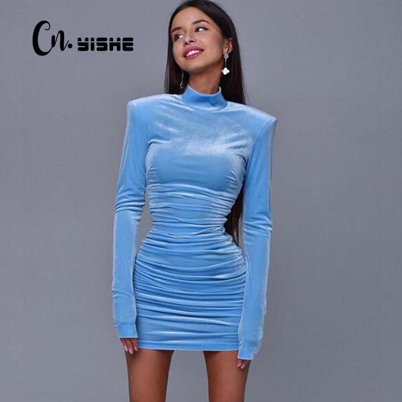 Соблазнительное облегающее бархатное мини-платье CNYIHSE, женские осенние вечерние платья с длинным рукавом и высоким воротником, женское бар...