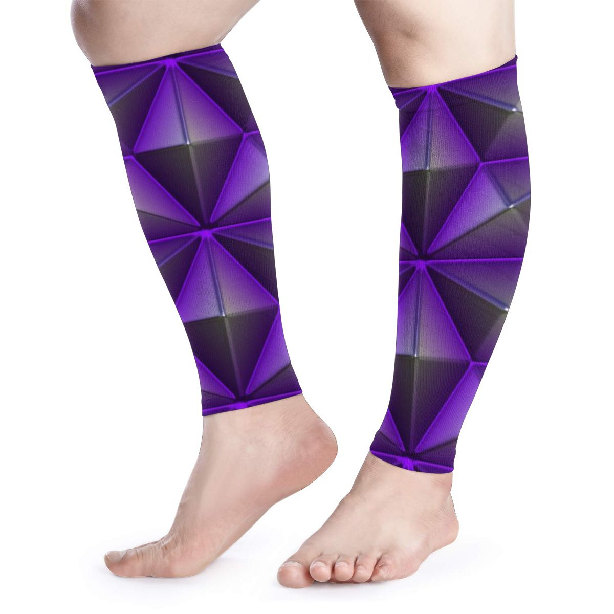 NOISYDESIGNS A Pair Calf Protecctor Sleeves Purple Geometric Print Elastic Shin Guard Protector Leg Warmers Sport Equipment