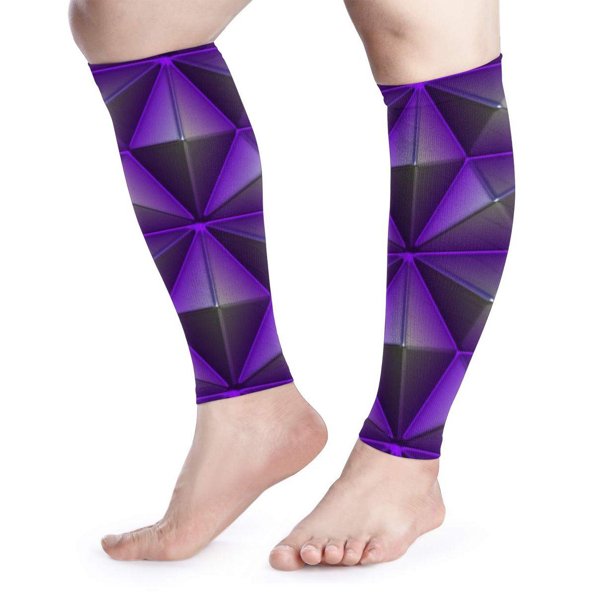 NOISYDESIGNS A Pair Calf Protecctor Sleeves Purple Geometric Print Elastic Shin Guard Protector Leg Warmers Sport Equipment