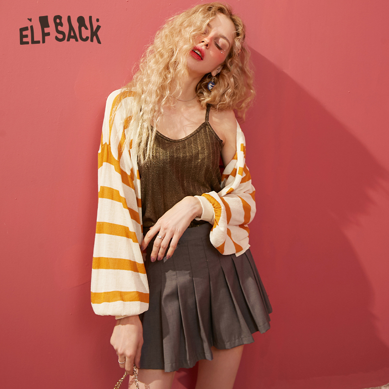 ELFSACK Yellow Striped Knit Loose Casual Women Sweater Cardigans 2020 Spring Black Lantern Sleeve Female Korean Daily Thin Tops