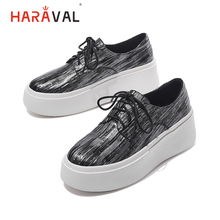 HARAVAL Fashion simple low cut women shoes embossed leather  casual Sneakers cross tie round head single ladies N100
