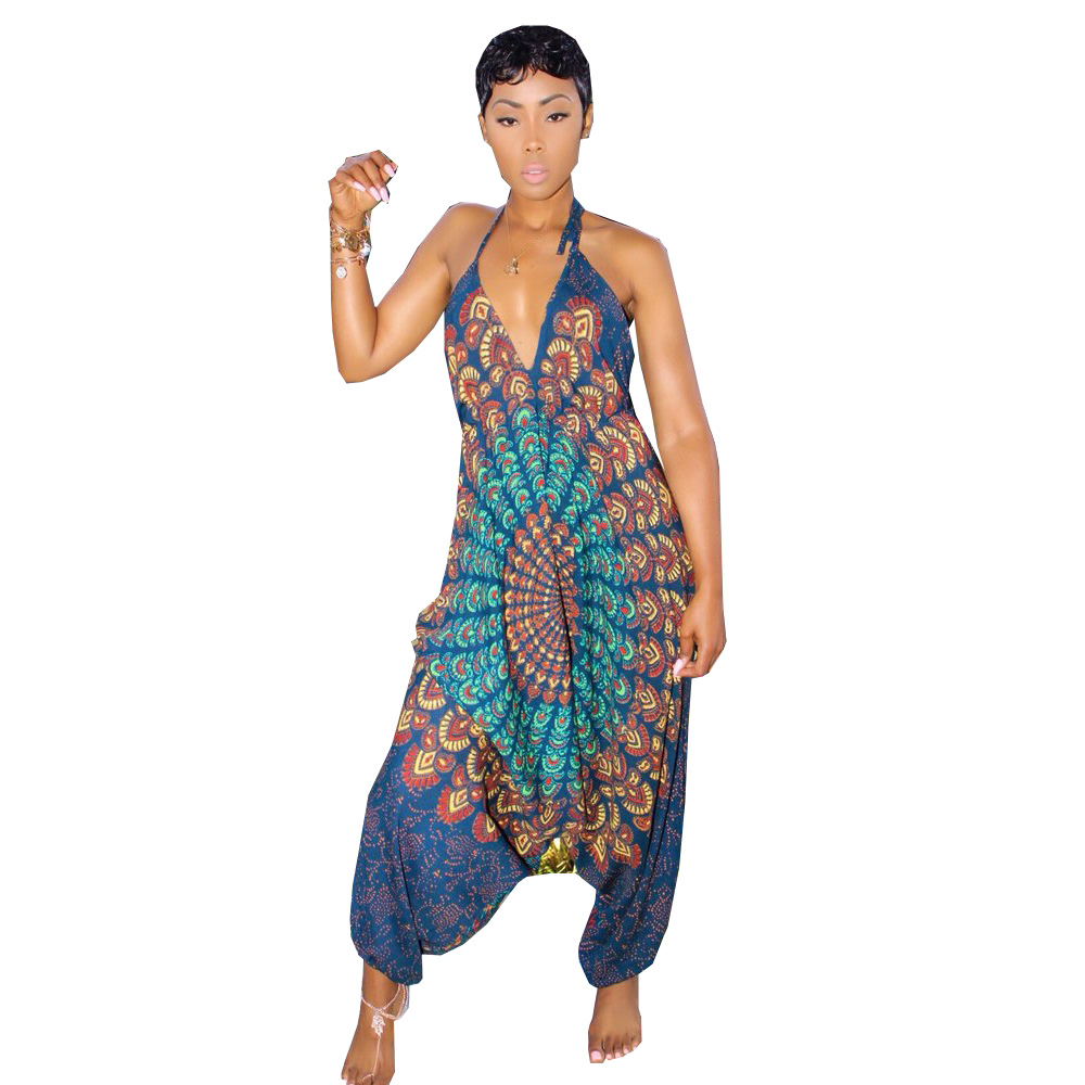 Women Sexy Club Sleeveless Jumpsuits Deep V Neck Spaghetti Straps Flora Print Rompers Casual Backless Harem Jumpsuit