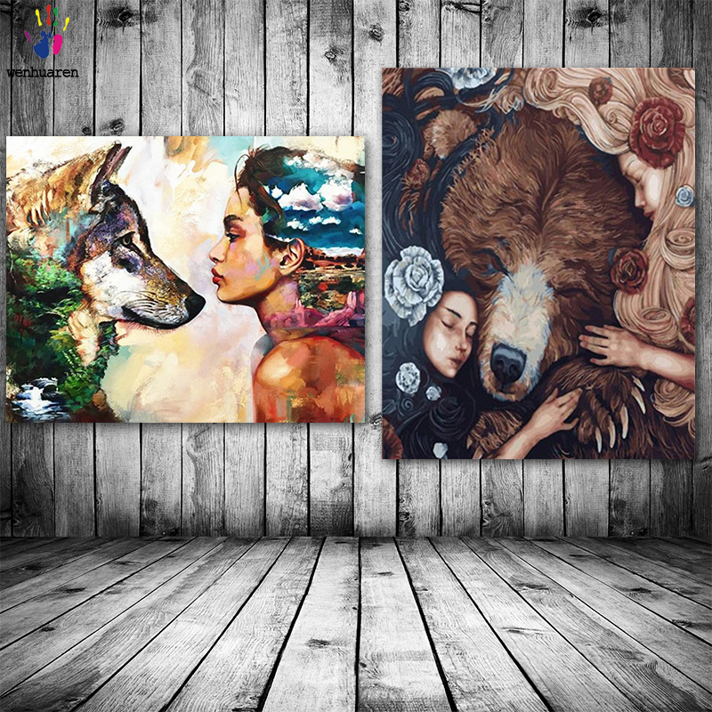 DIY Colorings Pictures By Numbers With Colors Animals And Girls Picture Drawing Painting By Numbers Framed Home