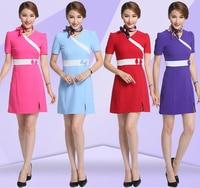 Women V Neck Hospital Nurse Uniforms Doctor Nurse Short Sleeve Patchwork Bow knot Medical Beauty Salon SPA Work Wear