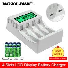 Умное зарядное устройство VOXLINK с ЖК-дисплеем, умное зарядное устройство с 4 слотами для AA/AAA NiCd NiMh аккумуляторных батарей, зарядное устройств...