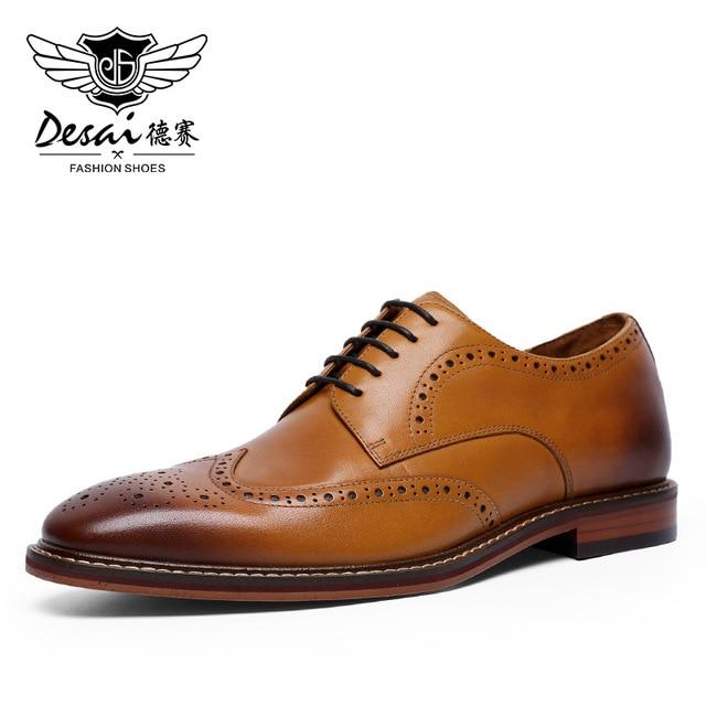 DESAI New Arrivals Light Brown Men Business Dress Shoes Genuine Leather Derby Gentleman Shoes Formal Carved Bullock Brogue