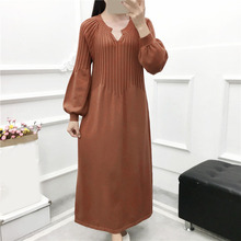 Winter Autumn Women Knitted Dress Vintage Long Sleeve Long Sweater Dress Casual Loose Female Lantern Sleeve Pullover Dress цены