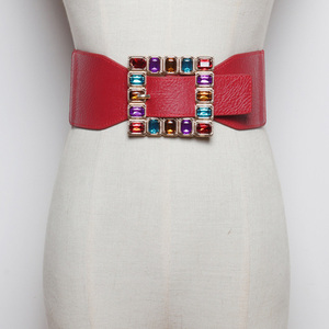 Image 3 - Fashion Colorful Rhinestone Square Buckle Belts for women Punk Leather Elastic Wide off belt for Dress Waistband Accessories