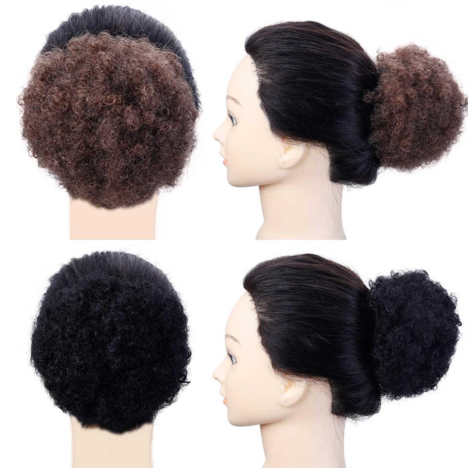 8 polegadas de alta puff afro encaracolado peruca rabo de cavalo cordão curto afro kinky pônei cauda clip em sintético kinky encaracolado cabelo chignon